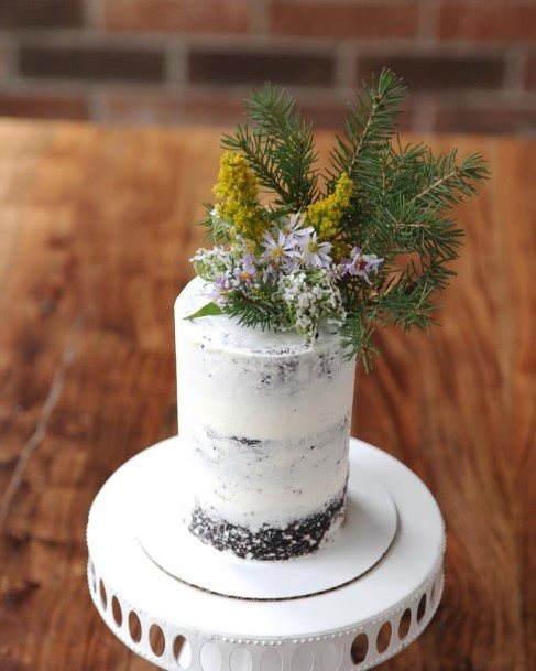 Feathery Green Rustic Wedding Cake Toppers