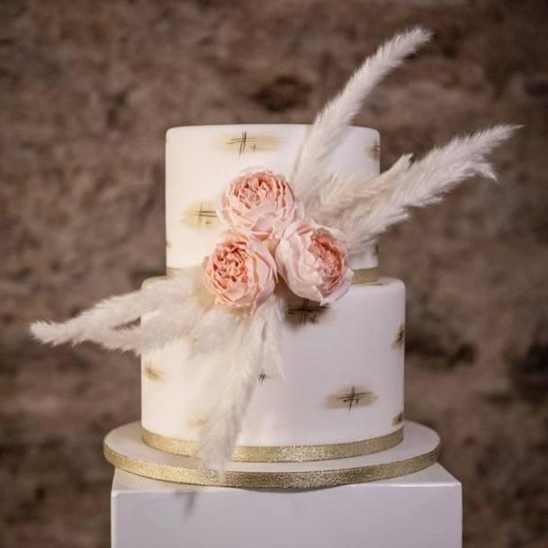 Feathery Roses 2 Tier Wedding Cake