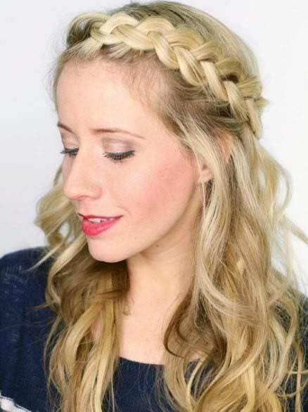 Female With Long Blonde Wavy Hair And Loose Braided Crown