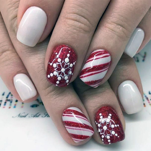 Festive Red And White Snow Nails Women