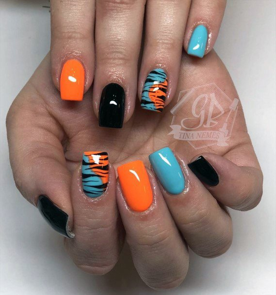 Fiery Halloween Colorful Nail Ideas For Women