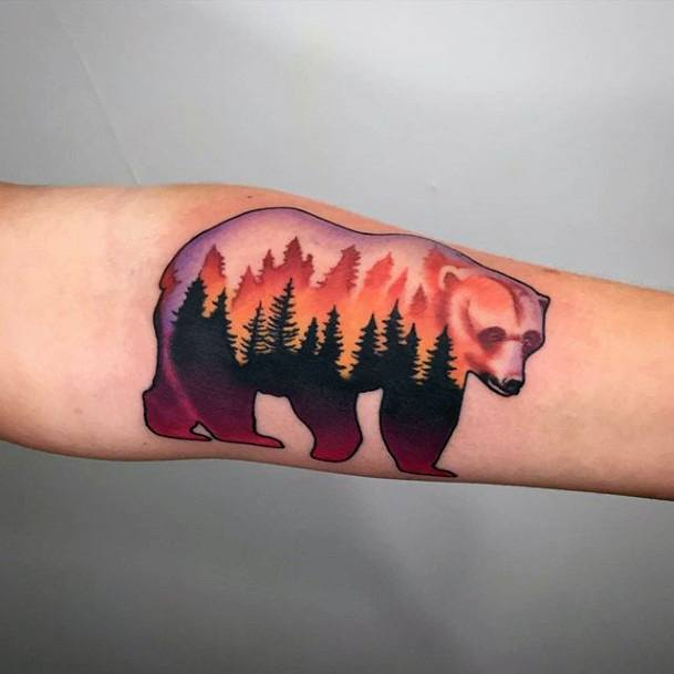 Fiery Orange Pine Trees Bear Tattoo For Women