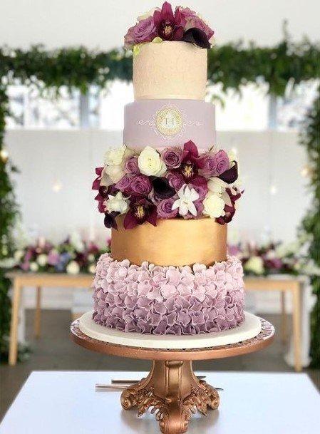 Five Tiered Purple Wedding Cake