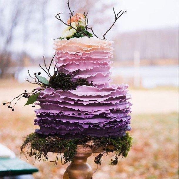 Flaky Icing Purple Wedding Cake
