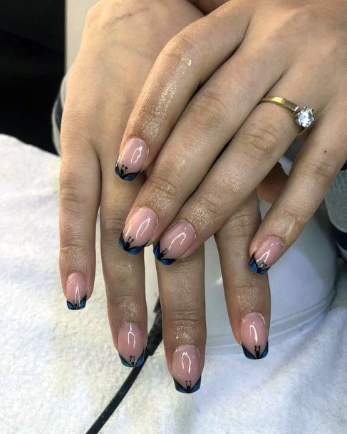 Flaming Black Tips April Nails Women