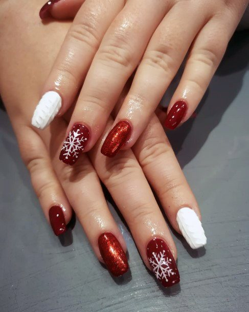 Flaming Red And White Snow Nails Women