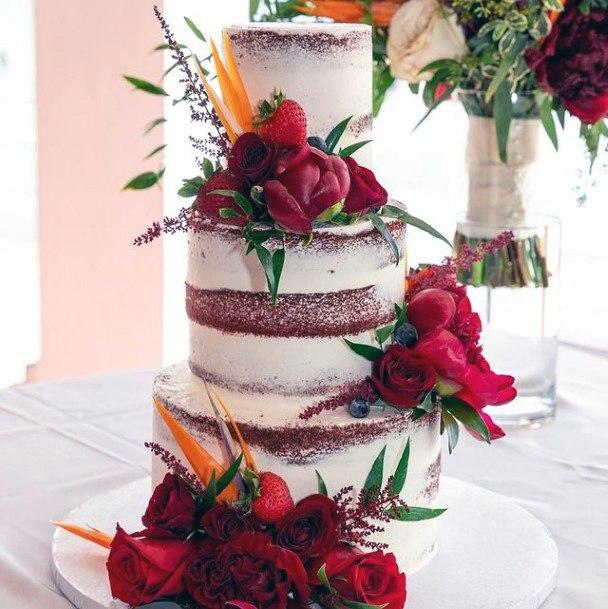 Flaming Red Roses Velvet Cake Wedding Art