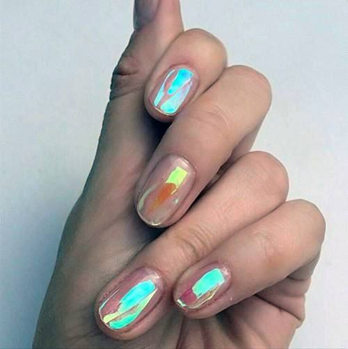 Flashy Iridescent Nails Women