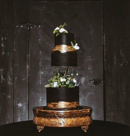 Floating Black Gold 3 Tier Womens Wedding Cake
