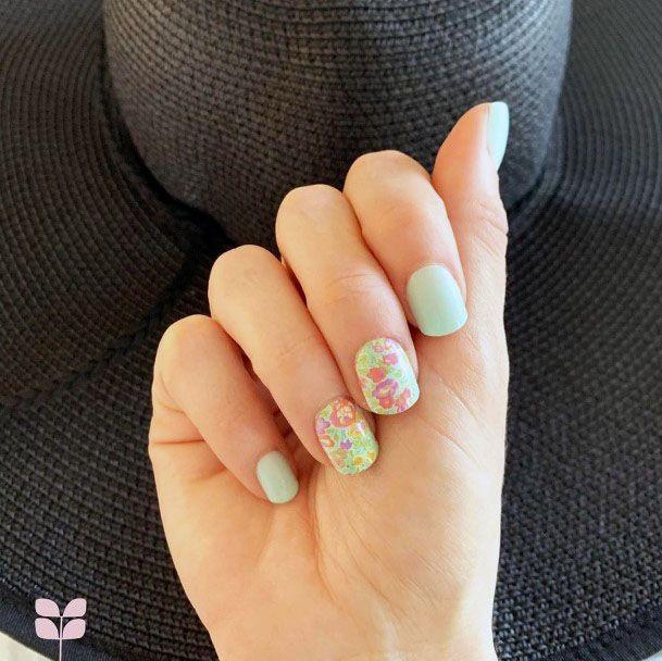 Floral Art On Mint Nails Women