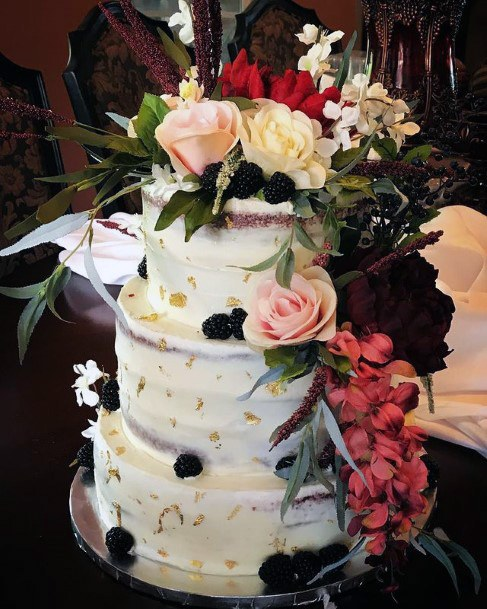 Floral Bonanza Red Velvet Wedding Cake