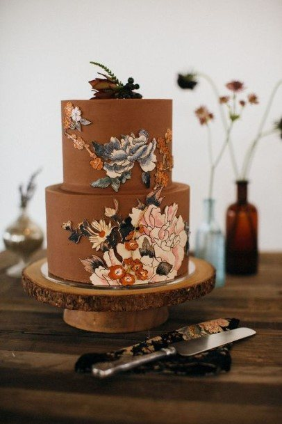 Floral Chocolate Wedding Cake