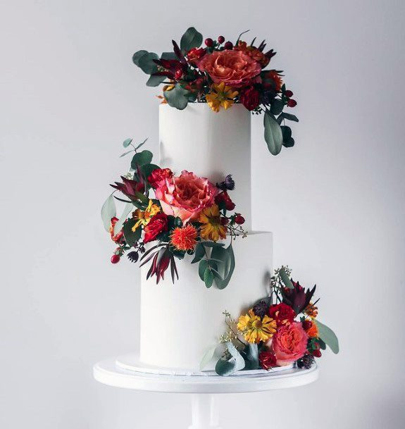 Floral Display On Fall Wedding Cakes Women