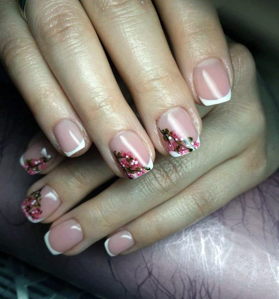 Floral French Manicure For Women