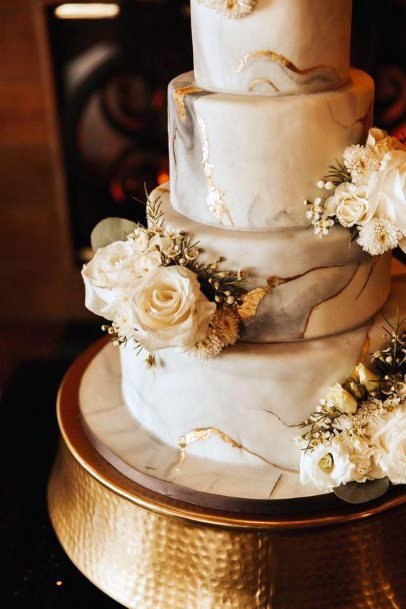 Floral Gold And White Marble Wedding Cake