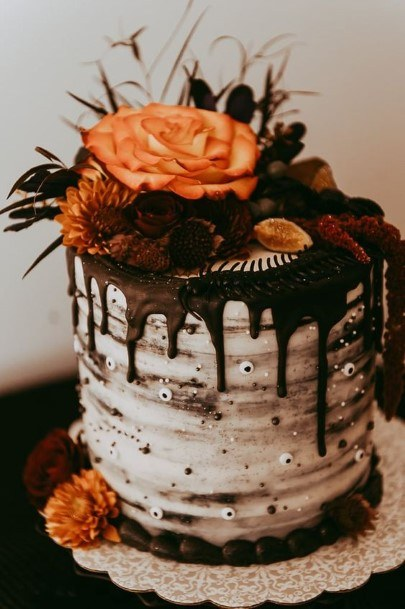 Floral Halloween Wedding Cake