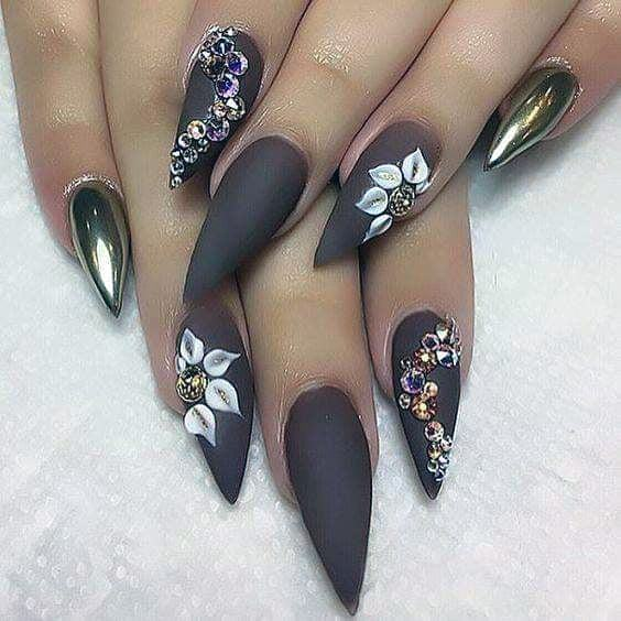 Floral Jewellery On Brown Nails Women