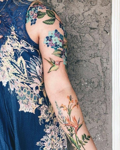 Floral Patterns And Hummingbird Tattoo Womens Full Sleeves