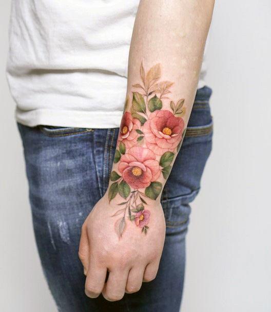 Floral Pink Tattoo Womens Wrist