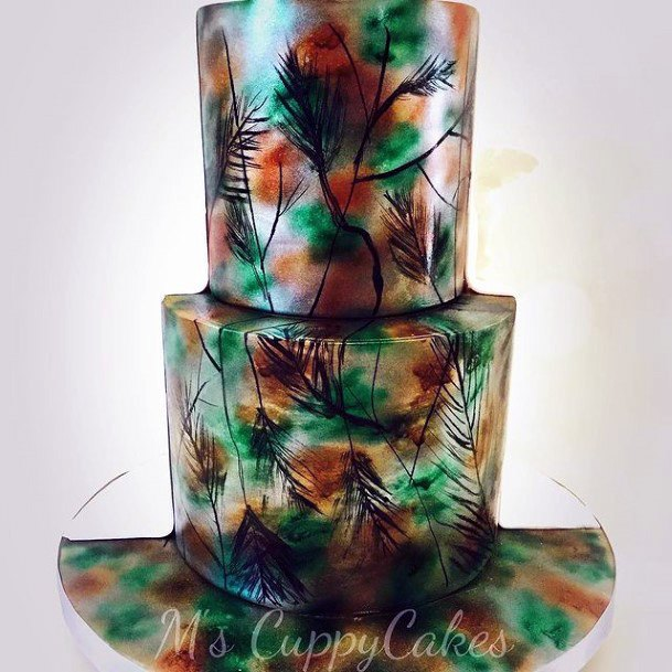 Floral Shiny Camo Wedding Cakes