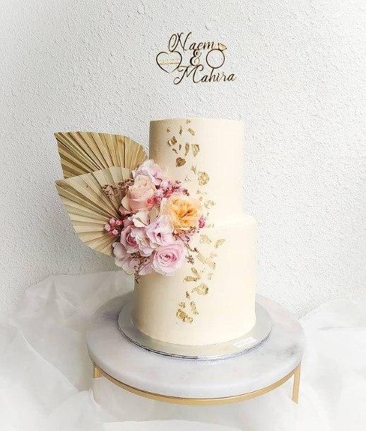 Floral White 2 Tier Wedding Cake