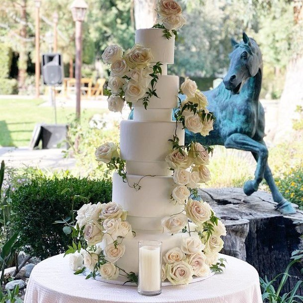 Flower Abundant White Wedding Cake