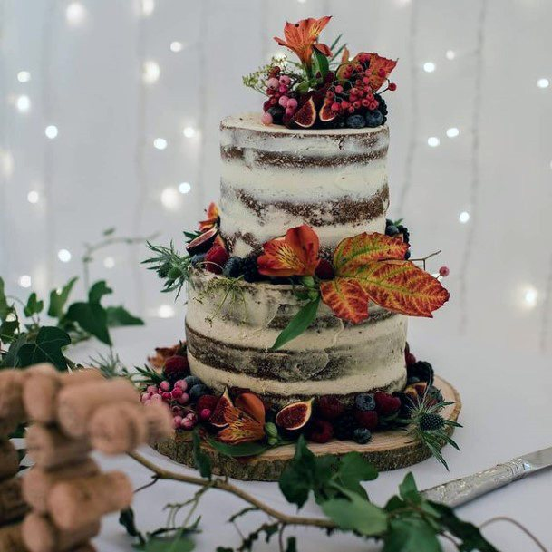 Flower And Fruits Fall Wedding Cakes Women