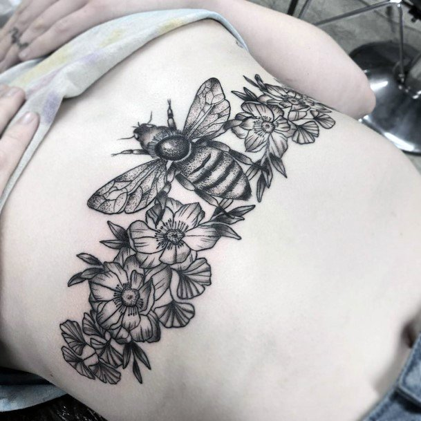 Flower Band And Bee Tattoo Womens Torso Art