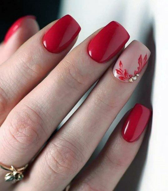 Flower Design Accent Bright Red Nails For Women