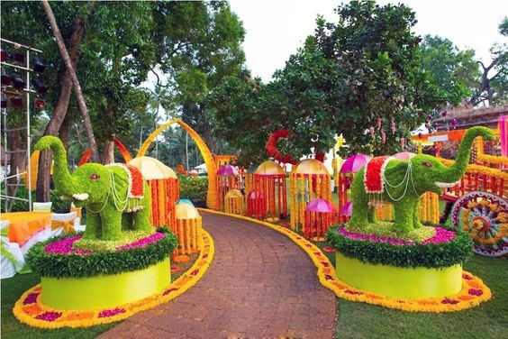 Flower Garden With Elephants Green Orange Indian Wedding