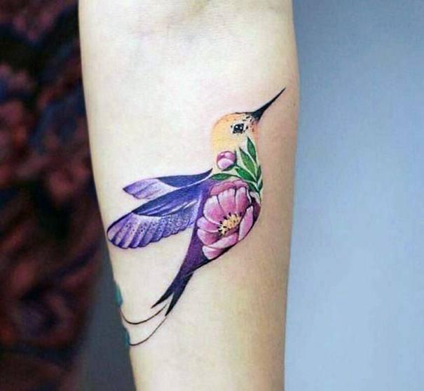 Flower In Hummingbird Tattoo For Women
