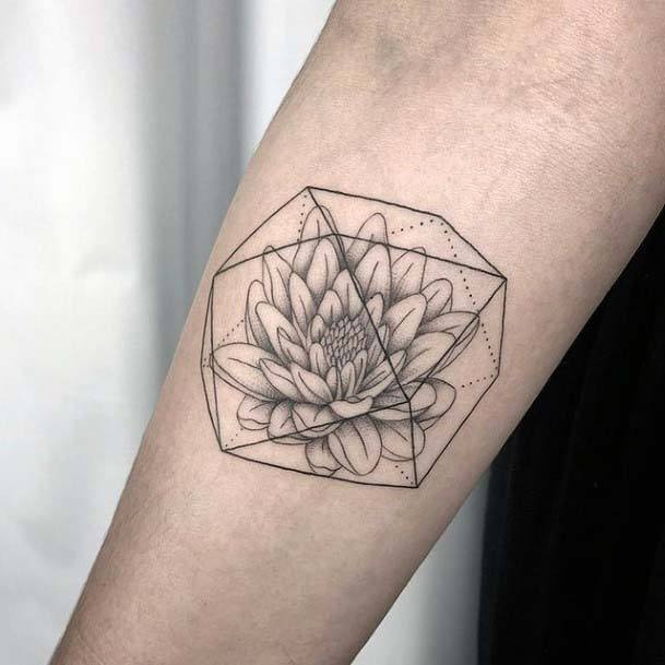 Flower Inside Geometric Medium Tattoo Womens Hands Art