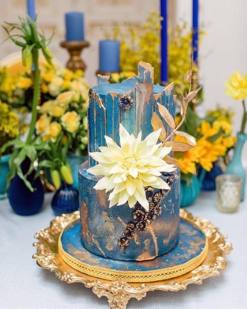 Flower On Blue Wedding Cake