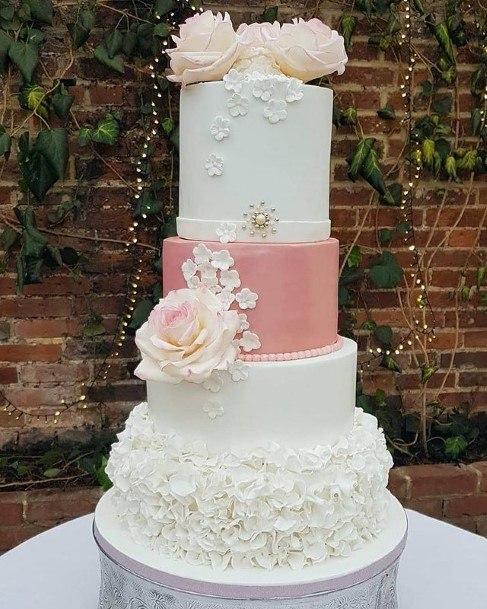 Flower Pink And White Beautiful Wedding Cake