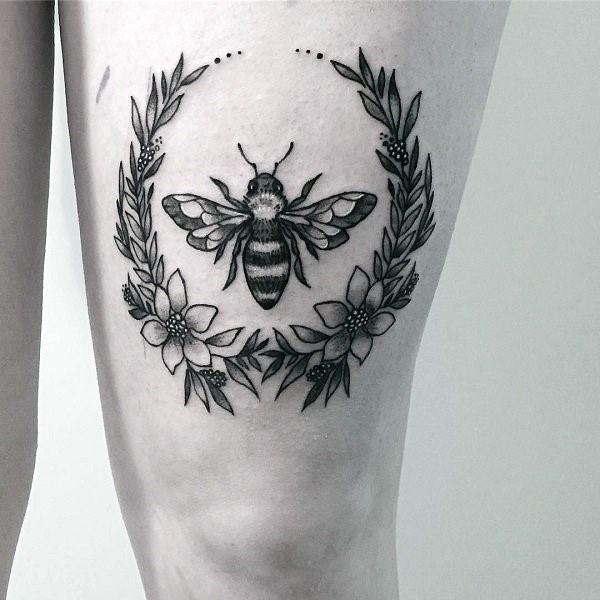 Flowers And Bee Tattoo Womens Thighs