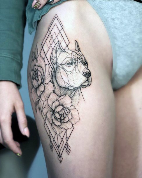 Flowers And Dog Tattoo Womens Thighs