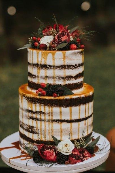 Flowers Decor Chocolate Wedding Cake