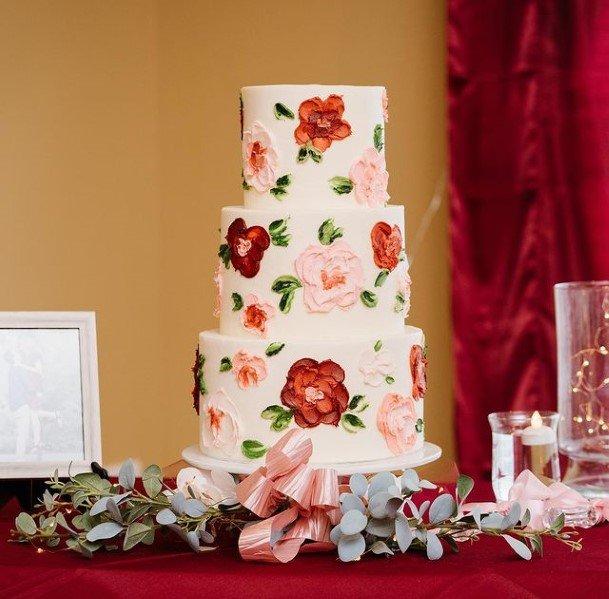 Flowers Patterned Beautiful Wedding Cakes