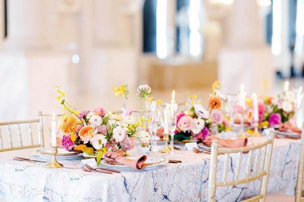 Flowers Pink Wedding Dining