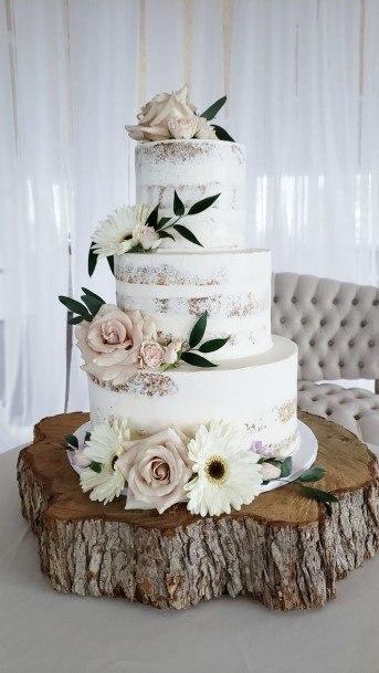 Flowery Semi Naked White Wedding Cake