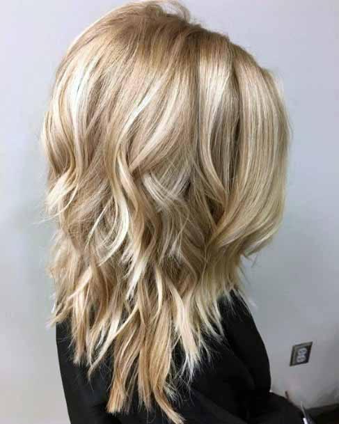 Flowing Fair Cascading Hair Medium Length Women