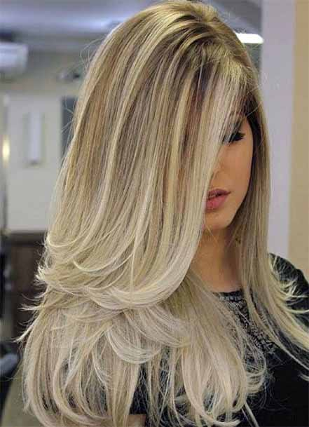 Flowing Golden Cascading Hair Women