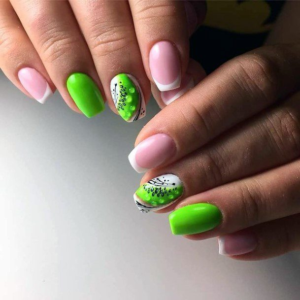 Fluroscent Green Kiwi Nails Women