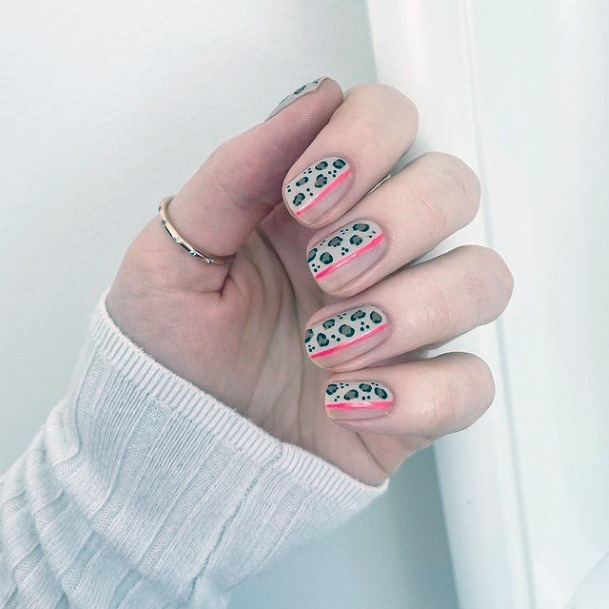 Fluroscent Pink Nails And Leopard Nails Women