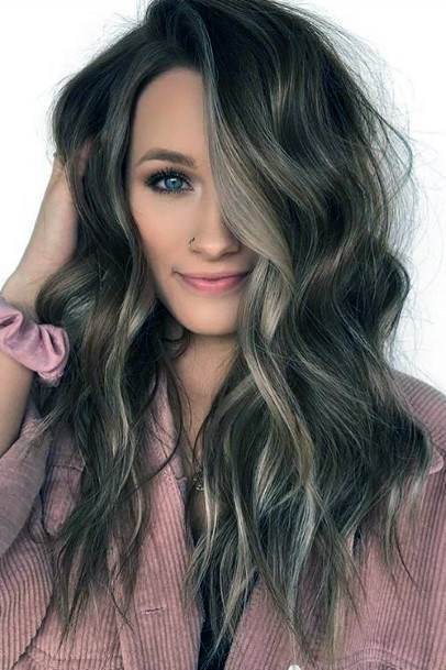 Flyaway Long Brown Hairstyle Women