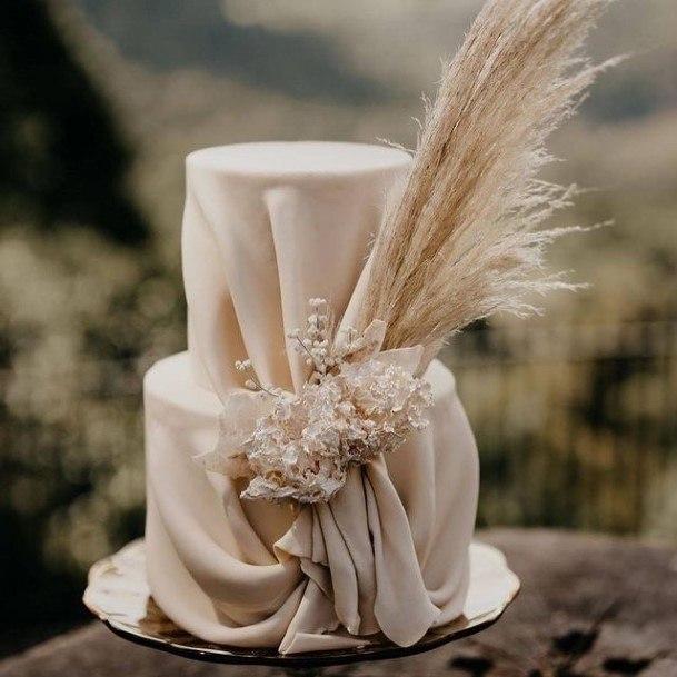 Folded Cloth Fondant 2 Tier Wedding Cake