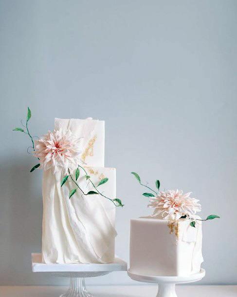 Folded Cloth White Square Wedding Cake