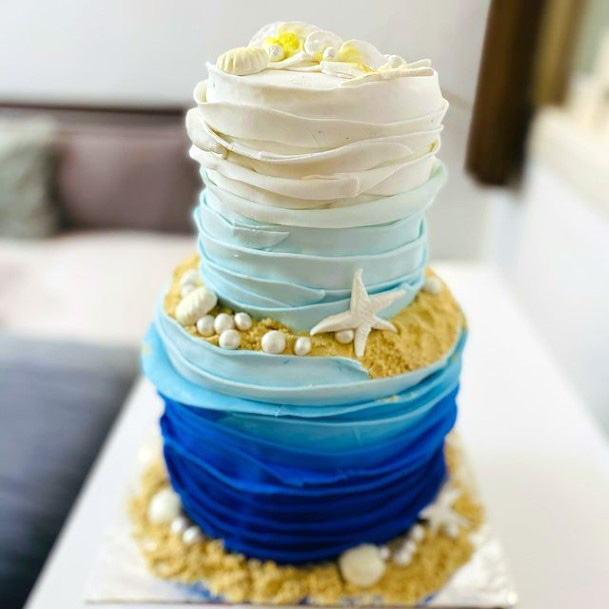 Folded Icing Beach Wedding Cake Women