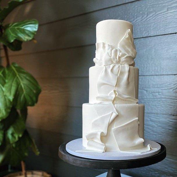 Folded White Wedding Cake