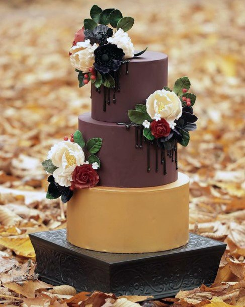 Fondant Smooth Fall Wedding Cakes For Women